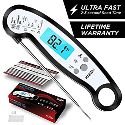 Kizen Instant Read Meat Thermometer - Best Waterproof Alarm Thermometer with Backlight & Calibration. Kizen Digital Food Thermometer for Kitchen, Outdoor Cooking, BBQ, and Grill!