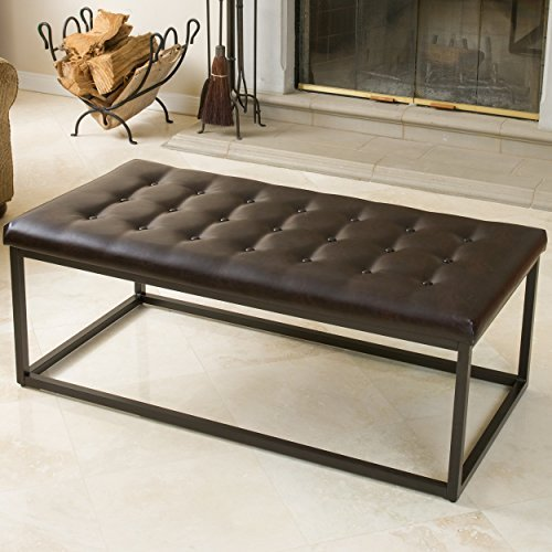 Christopher Knight Home 238448 Denny Brown Leather and Steel Frame Ottoman
