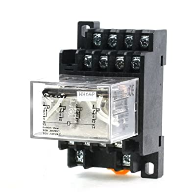 Uxcell a13060500ux0317 35mm DIN Rail DC 12V Coil 4PDT 14P LY4NJ General Purpose Power Relay with Base, Black