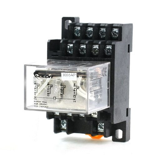 Uxcell 35mm DIN Rail DC 12V Coil 4PDT 14P LY4NJ General Purpose Power Relay with Base