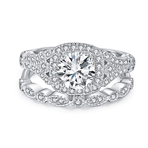 3UMeter Bridal Rings Sets for Women - 925 Sterling Sliver Cubic Zirconia Wedding Sets Halo Simulated Diamond with Matching Filigree Fashion Women Rings ()