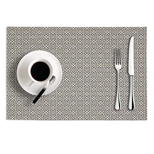 Quinnteens Washable Table Mats Striped Texture Gray Non-Slip Insulation Placemat (2pcs placemats,12x18 inch)