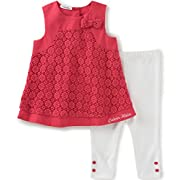 Calvin Klein Baby Girls' 2 Pieces Tunic Pant Set-Bow, Cherry, 0/3M