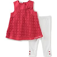Calvin Klein Baby Girls' 2 Pieces Tunic Pant Set-Bow, Cherry, 0/3M