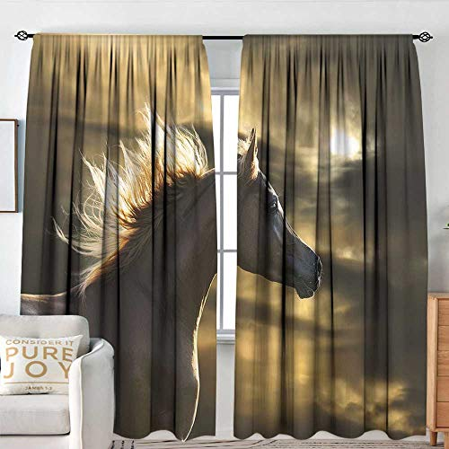 (Petpany Rod Pocket Curtains Horse Decor,Chestnut Horse Profile on Dramatic Cloudy Sunset Sky Strong Wild Young Mammal,Brown Yellow,for Room Darkening Panels for Living Room, Bedroom 84