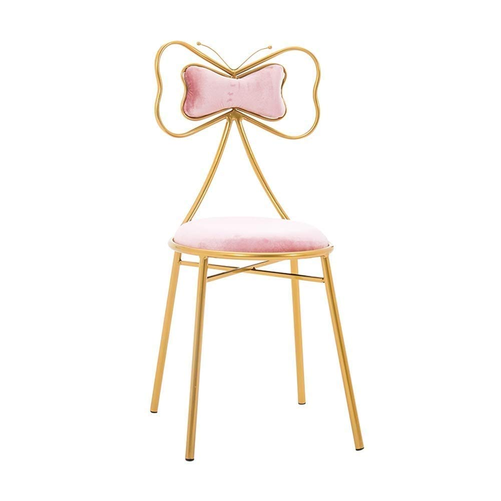 C Nordic Butterfly Bar Chair Breakfast Chair Makeup Stool Backrest for Family Coffee Shop Kitchen Multi color Optional (color   A)