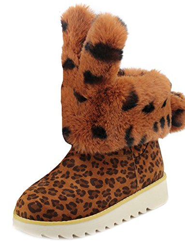 Aisun Yellow Snow Toe Women's Round Booties Sweet Platform Frosted PSCZPRqwn