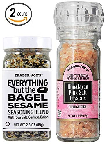 Trader Joe's - Everything but the Bagel Sesame Seasoning Blend, 2.3 oz. & Himalayan Pink Salt Crystals with Built in Grinder 4.5 oz