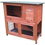 Bunny Business- Madriguera de dos pisos para conejo/cobaya, con bandejas deslizantes,