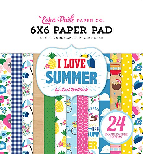 Echo Park Paper Company SU178023 I Love Summer 6x6 Pad Paper, Pink, Teal, Green, Yellow, Blue, red
