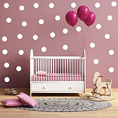 """(20) 5"""" White Polka Dot Decals - Removable Peel and Stick Circle Wall Decals for Nursery, Kids Room, Mirrors, and Doors"""