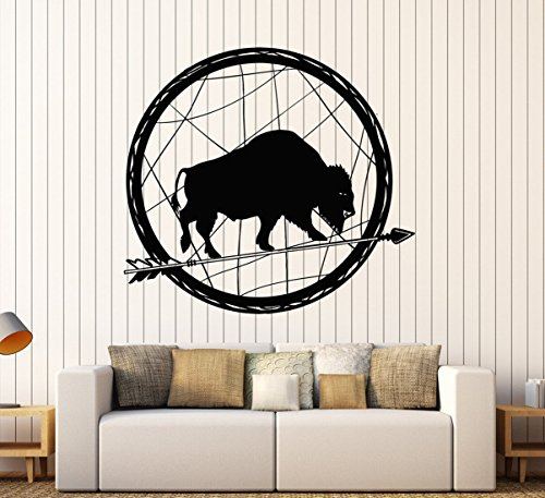 BorisMotley Wall Decal Buffalo Arrow Mascot Ethnic Vinyl Removable Mural Art Decoration Stickers for Home Bedroom Nursery Living Room Kitchen