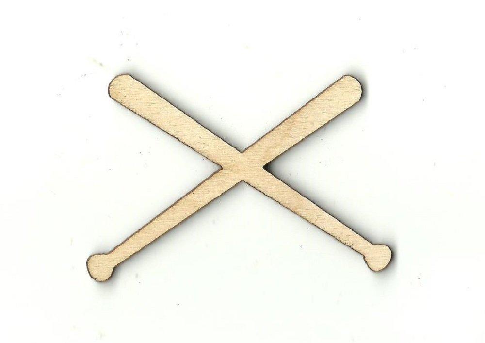 Baseball Bat Laser Cut Out Unfinished Wood Shape Craft Supply SPT363