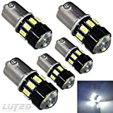 LUYED 5 x 600 Lumens Super Bright Ultra Low Current 1156 5630 16-EX Chipsets 1156 1141 1003 7506 LED Bulbs Used For Back Up Reverse Lights,Brake Lights,Tail Lights,Rv lights,Xenon White