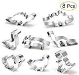 plastic animal cookie cutter set - Dinosaur Cookie Cutter Set – Joyoldelf 8 Pcs Biscuit Cutter Stainless Steel Mould for DIY Fondant Dough Sugarcraft Pastry Cake Decoration