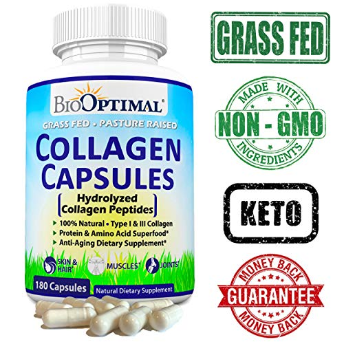 51Oe33oLT3L - BioOptimal Collagen Pills - Collagen Supplements, Grass Fed, 180 Capsules, Non-GMO, for Women & Men, Benefits Skin, Hair, Nails & Joints, Collagen Capsules, Premium Quality