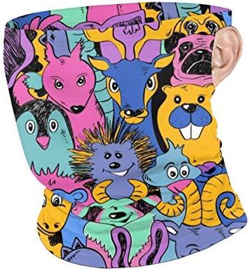 フェイスカバー Uvカット ネックガード 冷感 夏用 日焼け防止 飛沫防止 耳かけタイプ レディース メンズ Colorful Bright Funny Animals