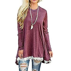 GERGER BO Womens Shirts Tunics Blouses Tops For Women Blouse Tunic Top Long Sleeve Shirt Winered,L