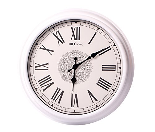SonYo Silent Non-ticking Round Antique Wall Clocks (16 Inches) Decorative Vintage Style Roman Numeral Clock - Clock Numeral Silver Roman