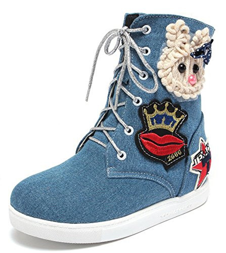 IDIFU Womens Sweet Patched Heighten Heels Inside Denim Ankle Boots Lace Up Canvas Martin Booties Denim Blue