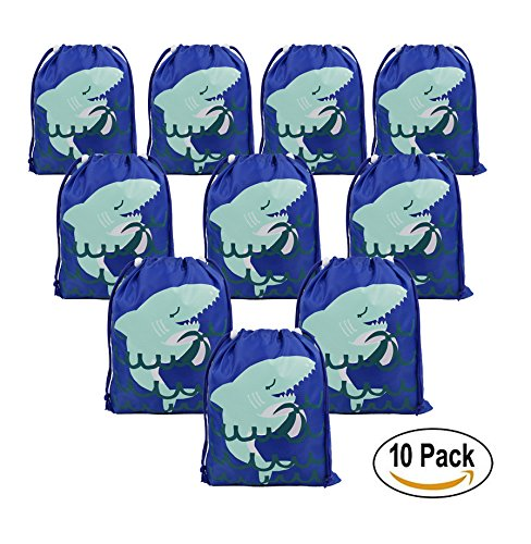 Shark Party Favors Bags Supplies for Boys and Girls, 10 Pack Cute Goodie Bags for Kids - Gift Used Be E Cards Store That Can In