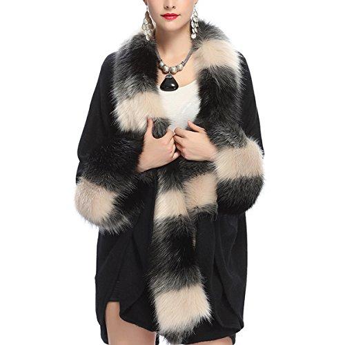 Kaxidy Femme D'hiver Couches Mode Noir Veste Ponchos Imitation Fourrure Manteaux Manteau rEHwrq