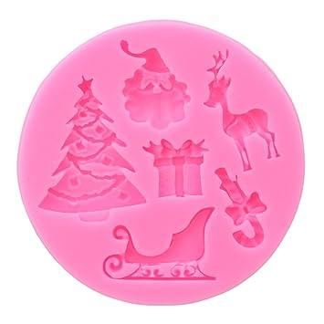 Jixing Papá Noel Árbol de Navidad Muñeco De Nieve Silicona Molde para Pastel Tarta Pan Muffin Cups Galletas Chocolate Cubitos de Hielo Carcasa DIY Forma: ...