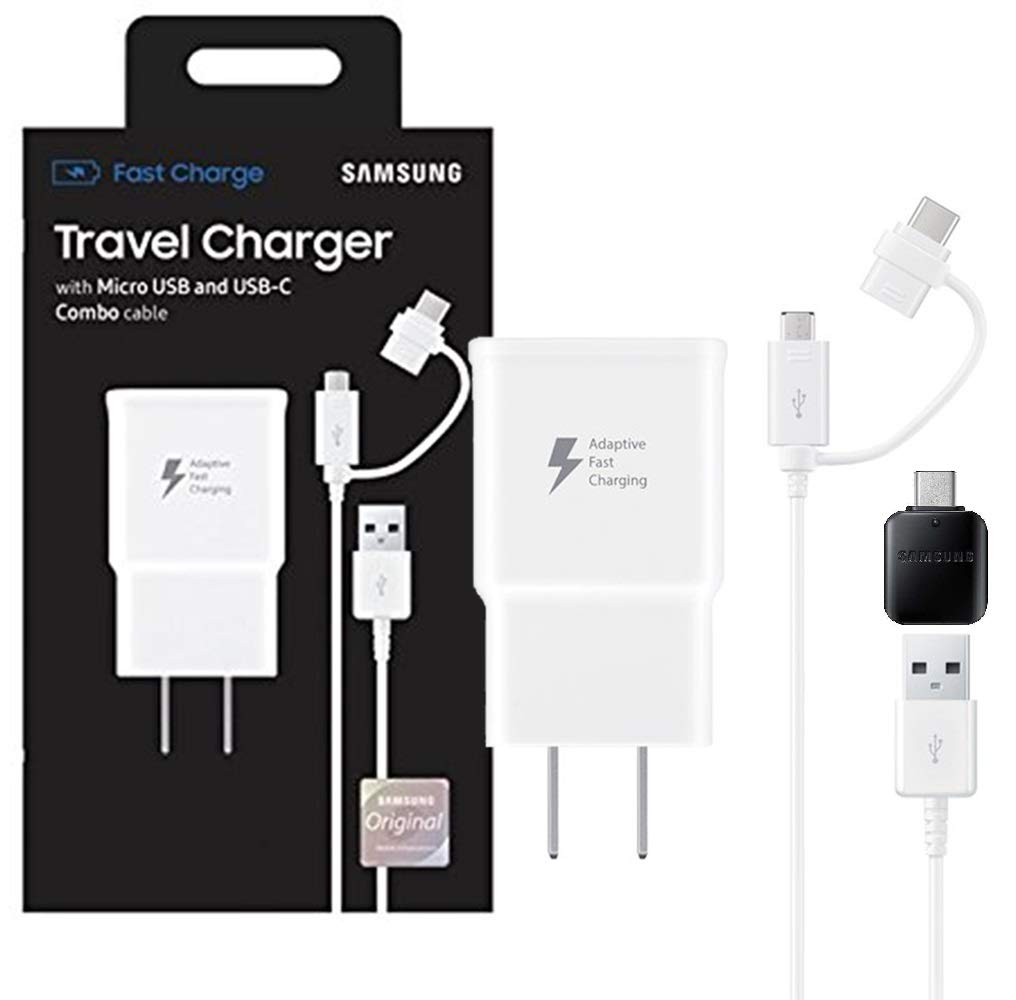 For S8//S9//+//Note8//Note9 US Retail Packing Kit Official Samsung Adaptive Fast MicroUSB//USB-C Fast Charge Wall Charger