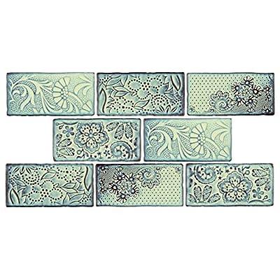 "SomerTile WCVAFA Antigue Feelings Agua Marina Ceramic Wall Tile, 3"" x 6"", Green/Blue/Brown"