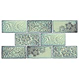 "SomerTile WCVAFA Antigue Feelings Agua Marina Ceramic Wall Tile, 3"" x 6"", Green/Blue/Brown"