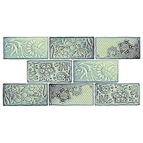 SomerTile WCVAFA Antigue Feelings Agua Marina Ceramic Wall Tile, 3