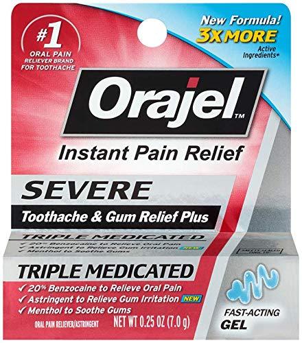 Orajel Severe Toothache & Gum Relief Plus, Cooling Gel, 0.25 Oz