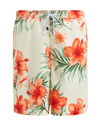 Hawaiian Print Swim Trunks (Trifuness Men Hawaiian Swim Trunks Quick Dry Board Shorts With Mesh Lining Tropical Floral Print)