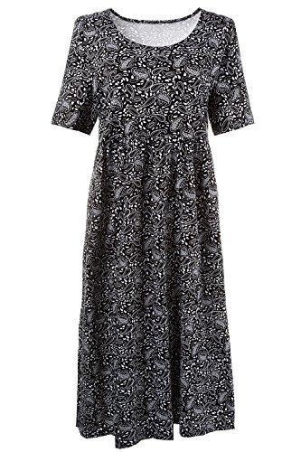 Dress Print Paisley Jersey (Ulla Popken Women's Plus Size Paisley Print Maxi Dress Black Multi 24/26 709781 90)