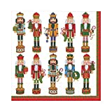 Caspari 13300L Entertaining with Nutcracker Parade Luncheon Napkins, White
