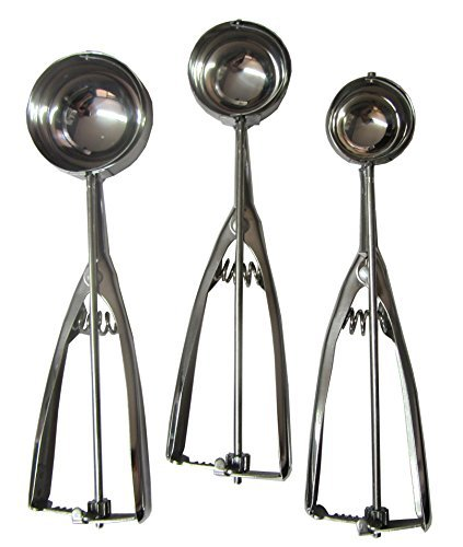 Ice Cream Scoop - 3 Piece Stainless Steel with Trigger Cookie - Melon Scoop Spoon Set Small - Medium - Large