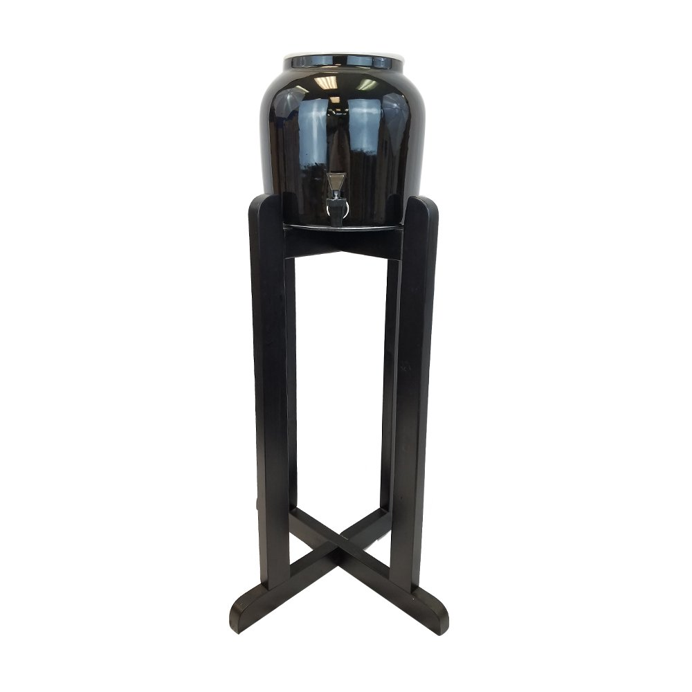 All Black Everything - All Black Porcelain Water Crock Dispenser with 30'' Black Wood Stand and Black Faucet