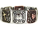 4030207 Love Peace Joy Hope Christian Stretch Bracelet Cross Heart