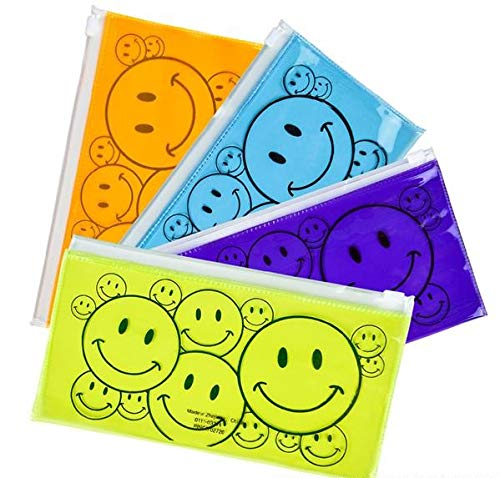 Rhode Island Novelty Smiley Face Pencil Cases | Set of 12 Assorted | Assortments May Vary