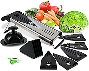 NOSH Kitchen Professional Stainless Steel Mandoline Fruit and Vegetable Slicer / Potato Slicer / Vegetable Julienne with Protective Blade Guard and FREE Finger Peeler