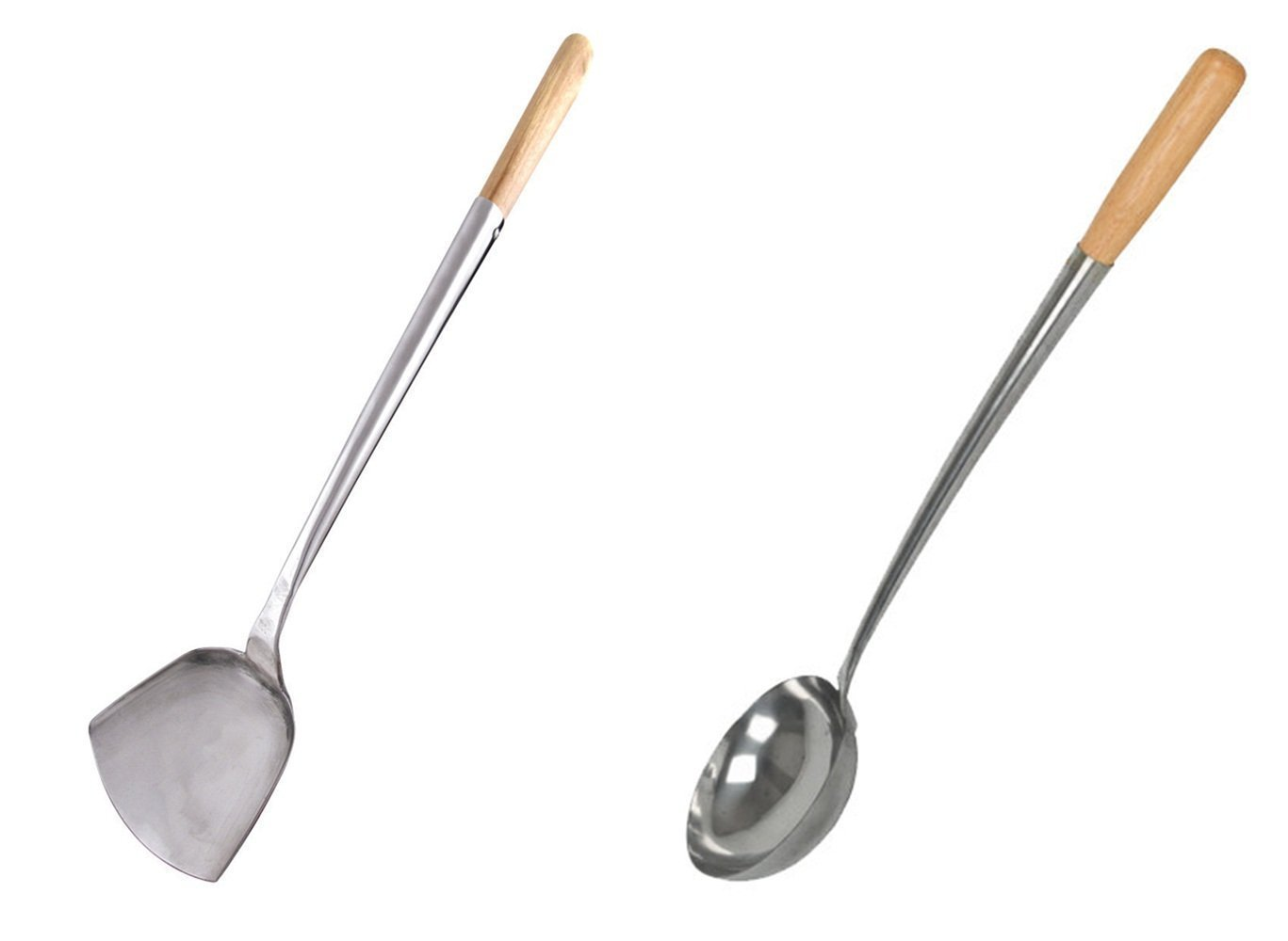 Home Use Stainless Hand-Tooled Chuan & Hoak (Spatula & Ladle) Set (S, 17.25