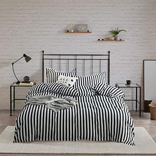 Wellboo Striped Duvet Cover Black and White Queen Bedding Set Cotton Hotel Collection Dobby Duvet Set Women Men Teens Quilt Cover Vertical Stripe Zebra Lines Bedding Soft Breathable 3 PCS