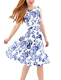 YMING Women 1950s Sleeveless Vintage Swing Dresses Party Picnic Cocktail Dress