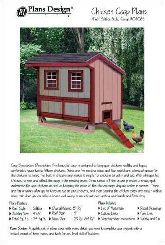 Hen House Designs (4'x6' Chicken Coop / Hen House Plans, Saltbox Roof Style (How to build a backyard chicken coop, design # 90406S))
