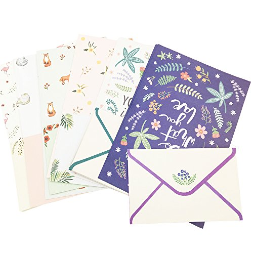 QingLanJian Cute Fresh Small Broken Flower Writing Lined Paper Letter Stationary Set-24 Sheets + 12 Envelopes
