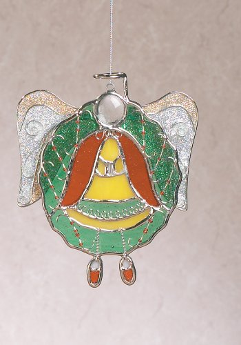 Angel in Christmas Wreath Stained Glass Ornament Suncatcher Metal Wire Glittery Mesh Wings Clear Glass Head String for Hanging 5.5 (Stained Glass Wreath Suncatcher)