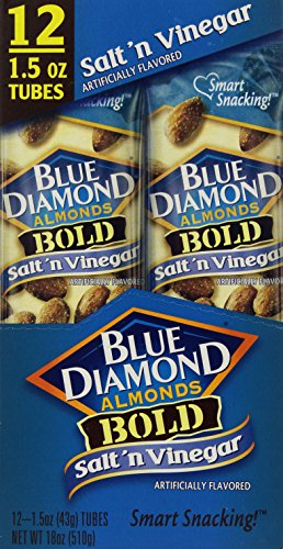 Blue Diamond Bold Almonds, 1.5 oz tubes, Salt 'n Vinegar, 12 tubes