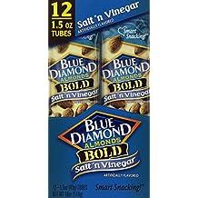 Blue Diamond Bold Almonds, 1.5 oz tubes, Salt 'n Vinegar, 12 tubes