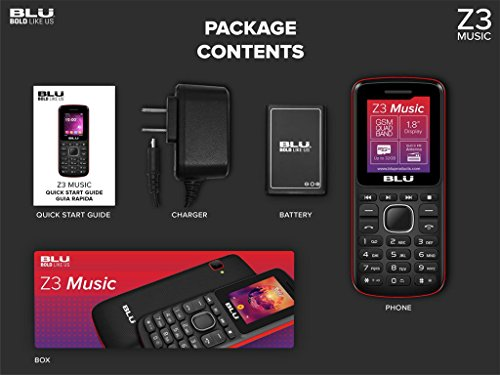 BLU Z3 Music Z150 1.8'' Cell Phone VGA GSM Unlocked Dual SIM T9 Keyboard (Grey) by BLU (Image #2)