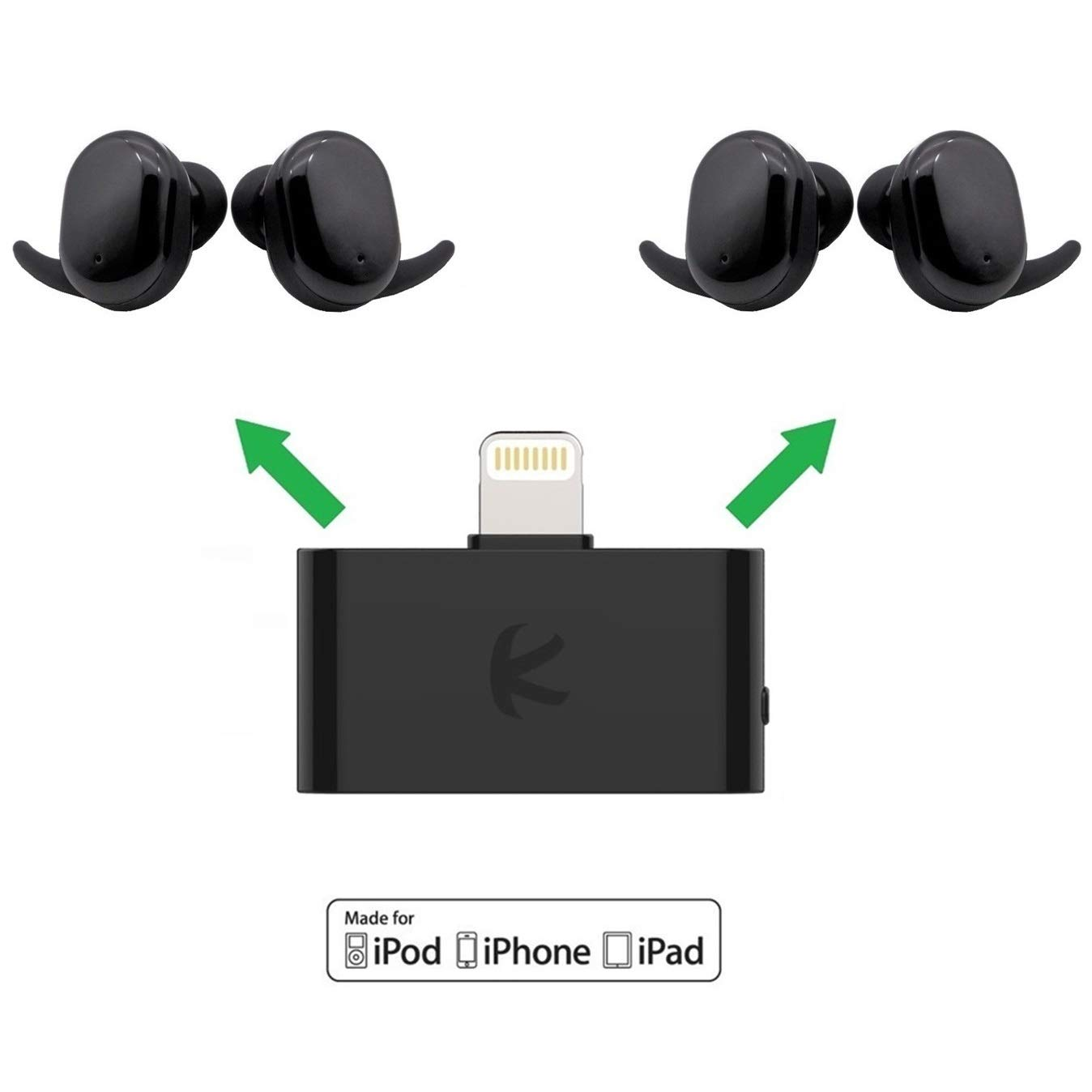 KOKKIA i10L_Plus_2AirBuds : i10L Bluetooth Transmitter Splitter Compatible with Apple iPhone,iPad,iPod Touch Plus 2 Sets AirBuds Touch True Wireless (TWS) Bluetooth Headsets.